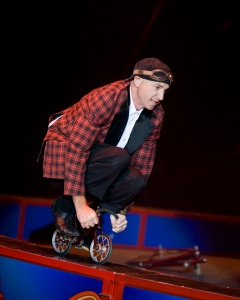 Justin Case Riding Tiny Bike. Photo courtesy of Ringling Bros.