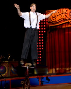 Justin Case riding handlebars. Photo courtesy of Ringling Bros.