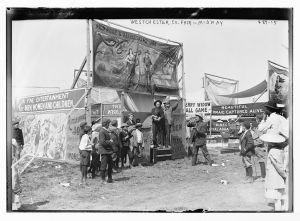Westchester County Fair, Wild Rose and Rattlesnake Joe sideshow. George Grantham Bain Collection (Library of Congress)