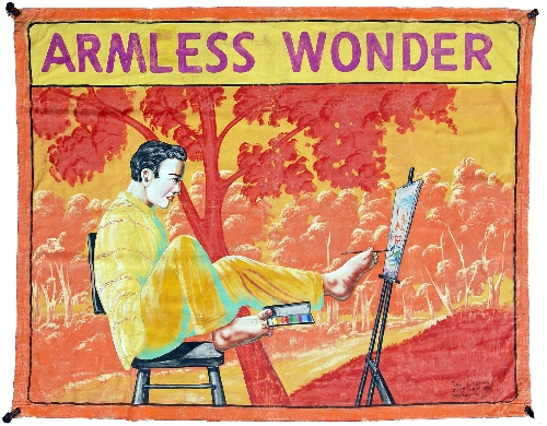 Vintage Sideshow Art: Armless Wonder by Dan Casola of 2525 Surf Ave, Brooklyn, NY