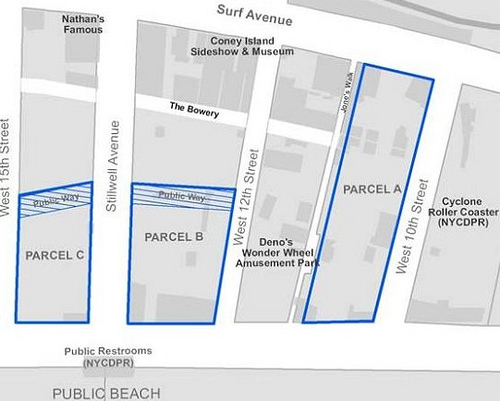 Parcels A, B & C Are Up for Bid. Detail of the CIDC's Map of the Coney Island Amusement Operator RFP Sites.  Credit: Coney Island Development Corporation
