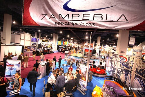 Ride manufacturer Zamperla's booth at the IAAPA Attractions Expo 2009 in Las Vegas. Photo © Charles Denson