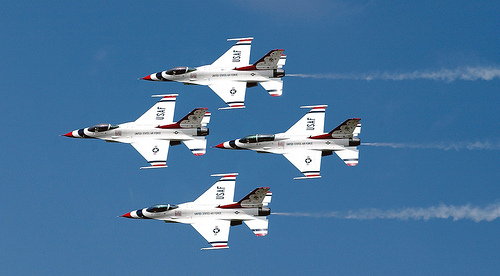 Diamond formation. The U.S. Air Force Thunderbirds perform at air show at Barksdale AFB, La. U.S. Air Force photo by Staff Sgt. Denise A. Rayder