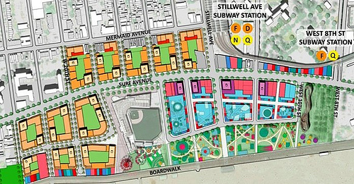 Detail of CIDC Map of of Coney Island Redevelopment Plan.  Salmon and cream color denote residential and residential towers.