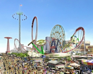 The Tower Swing Ride Was Prominently Featured in the CIDC's November 2007 Renderings of  the new Coney Island Amusement Park