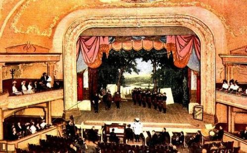 Vintage Postcard of Henderson's Music Hall Stage in Coney Island. Cezar Del Valle Collection