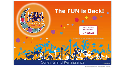 Screengrab from lunaparknyc.com, the new website of Coney Island's New Luna Park