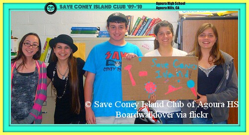 Save Coney Island Club of Agoura High School, Agoura Hills, California- 2009-2010. Photo © Boardwalklover via flickr