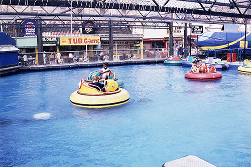 Before Thor: Bumper Boats on Stillwell East at Bowery. Photo via coneyislandbattingrange.com