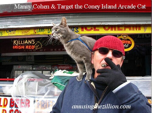 Manny Cohen of Coney Island Arcade with his World-Famous Cat Target.  © 2010 Manny Cohen.  All rights reserved
