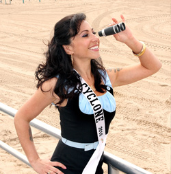 Miss Cyclone Angie Pontani on Coney Island's beach looking for Mr Cyclone. Photo © Charles Denson
