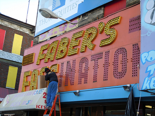 Coney Island signage: Faber's Fascination signage coming down! Photo © missapril1956 via flickr