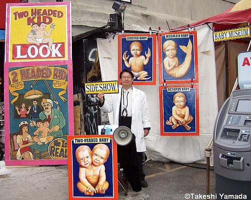 Freak Baby Museum of Dr. Takeshi Yamada at Feast of San Gennaro, Little Italy. September 16, 2010.  Photo courtesy of Takeshi Yamada