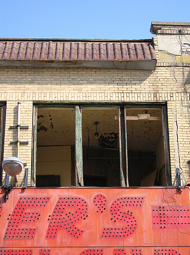 Thor's demolition of historic Coney Island in progress! Windows were ripped out of Henderson Building today. Photo by Anonymouse via Amusing the Zillion