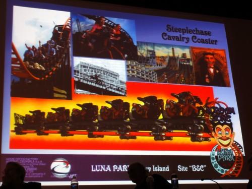 Coney Island Bound: Zamperla's Motocoaster themed as Steeplechase Cavalry Coaster. Photo © Jim McDonnell via smugmug