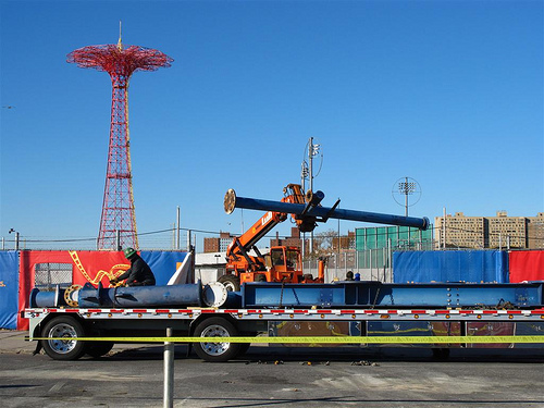 Just Arrived: Supports for Zamperla's Volare Flying Coaster in Coney Island. November 7, 2010. Photo © Bruce Handy/Pablo 57 via flickr