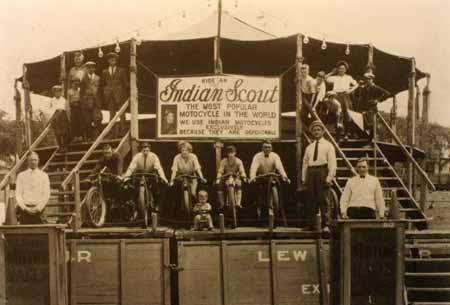 Wall of Death: Indian Scout--The Most Popular Motocycle in the World. Location Unknown.  Photo via The Selvedge Yard
