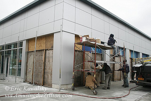 Boarding up Building