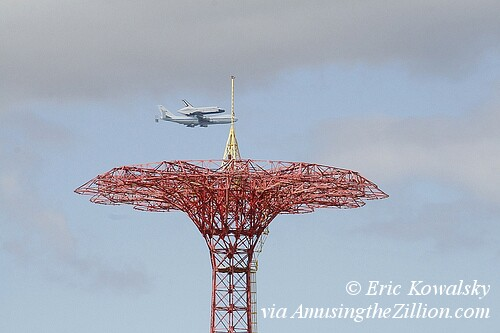 Space Shuttle over Coney Island