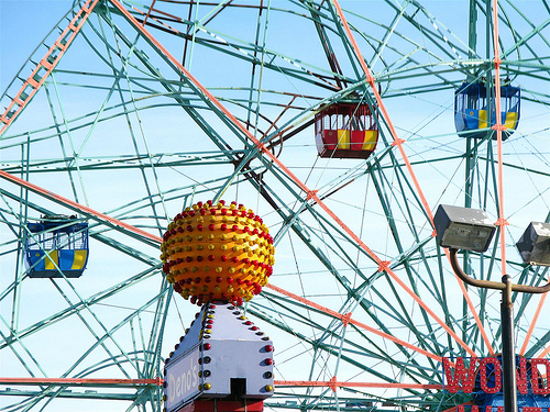 The Wonder Wheel Cars Were Put Back on the Wheel on Saturday..March 17, 2013. Photo © Bruce Handy via Coney Island Photo Diary