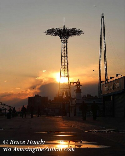 Coney Island Sunset with Parachute Jump and Skycoaster