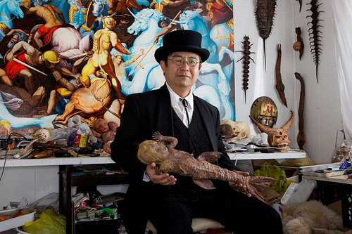 Takeshi Yamada with Baby Mermaid in his Coney Island Studio. Photo via AMC Immortalized