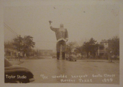 Real Photo Post Card of The Worlds Largest Santa Clause Kerens, Texas 1949 Taylor Studio . From the Collection of Ed Williams