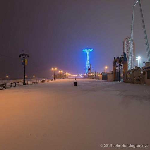 Coney Island at the start of a blizzard