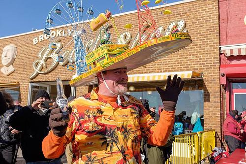 Brian Dillon sports his perennially popular Coney Island-themed hat