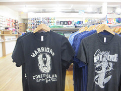 Warriors and mermaid tees at Brooklyn Beach Shop
